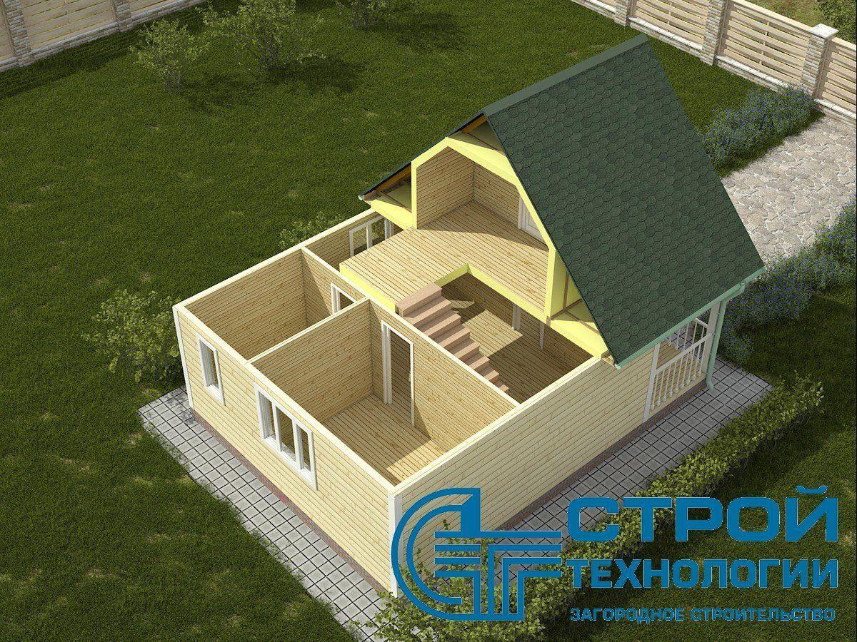Дачный дом с мансардой под двускатной крышей по проекту дм-7.